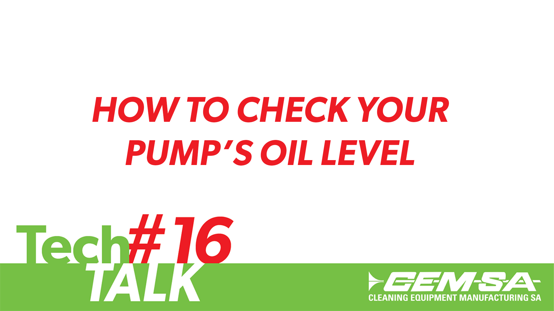 TechTalk #16- How To Check Your Pump's Oil Level